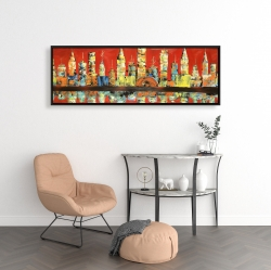 Framed 16 x 48 - Red abstract skyline