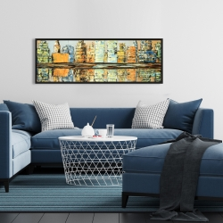 Framed 16 x 48 - Reflections of a colorful city