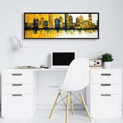 Framed 16 x 48 - Yellow abstract skyscrapers