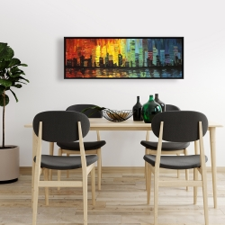 Framed 16 x 48 - City with color tones