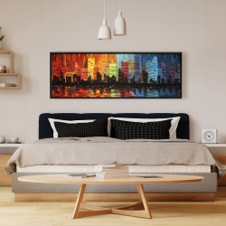 Framed 16 x 48 - Colorful cityscape
