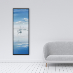 Framed 16 x 48 - Sailboats on the quiet lake
