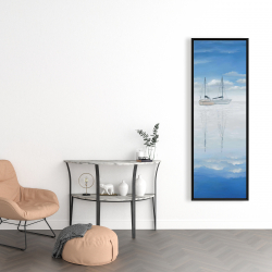 Framed 16 x 48 - Two sailboats on the quiet lake