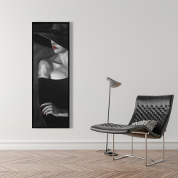 Framed 16 x 48 - Mysterious woman with a hat