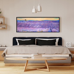 Framed 16 x 48 - Landscape of a field of lavender