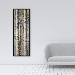 Framed 16 x 48 - Blossoming birches