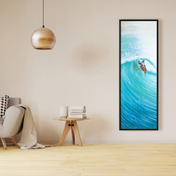 Framed 16 x 48 - Surfer in the middle of the wave