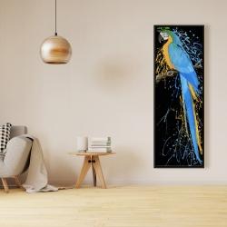Framed 16 x 48 - Blue macaw parrot
