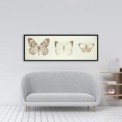Framed 16 x 48 - Sepia butterflies