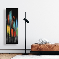 Framed 16 x 48 - Abstract tall buildings