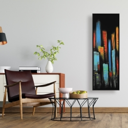 Framed 16 x 48 - Abstract and colorful tall buildings