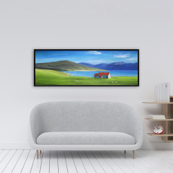 Framed 16 x 48 - Scottish highlands with a little red roof house