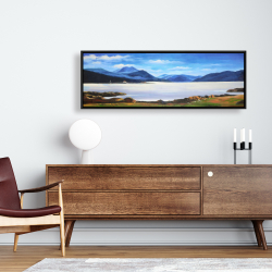 Framed 16 x 48 - Scottish highlands by a beautiful day