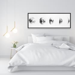 Framed 16 x 48 - Black and white eclipse