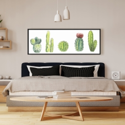 Framed 16 x 48 - Tiny cactus set