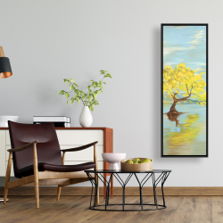 Framed 16 x 48 - Spring lanscape with a tree in a lake