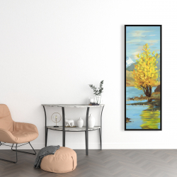 Framed 16 x 48 - Lake landscape with a tree and reflection