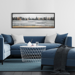 Framed 16 x 48 - Fall rainy day landscape with trees