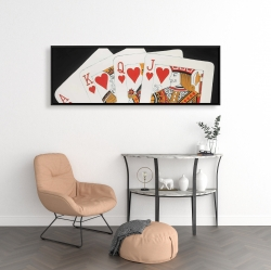 Framed 16 x 48 - Heart royal flush closeup