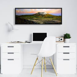 Framed 16 x 48 - Valley and mountains landscape