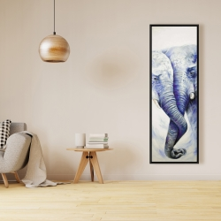 Framed 16 x 48 - Elephant couple loving each other