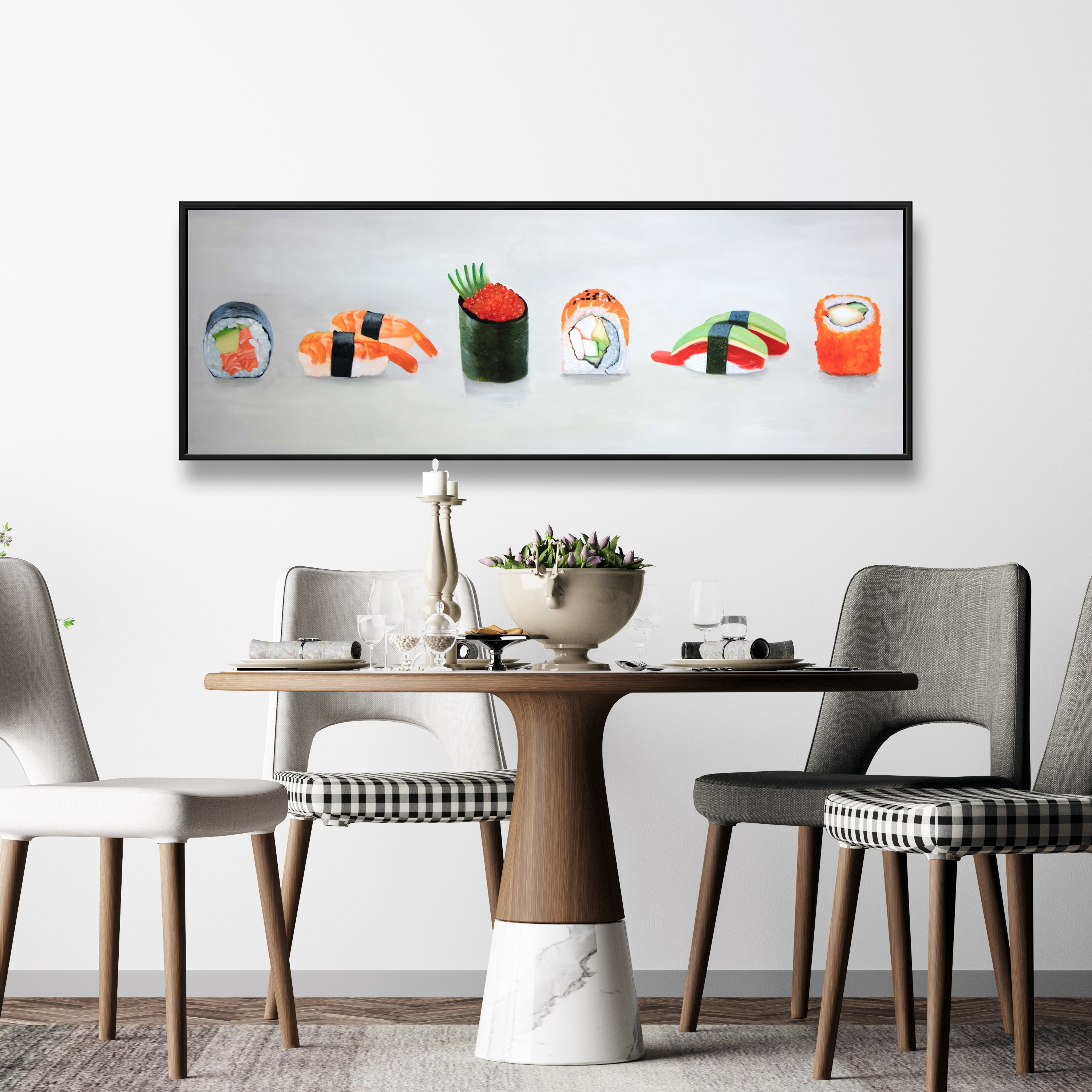 Framed 16 x 48 - Six pieces sushi assortment
