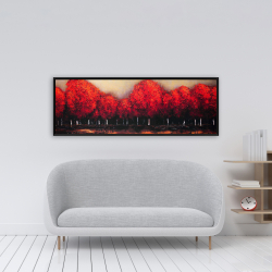 Framed 16 x 48 - Red trees by a dark day