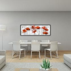 Framed 16 x 48 - Red flowers