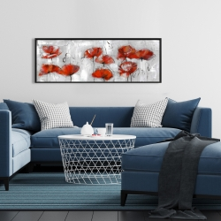 Framed 16 x 48 - Abstract poppies