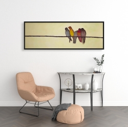 Framed 16 x 48 - Five birds on a branch