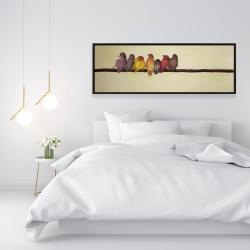 Framed 16 x 48 - Bird family
