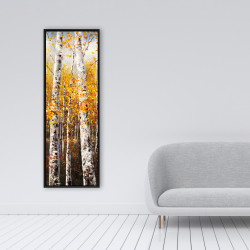 Framed 16 x 48 - Birches by sunny day