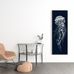 Framed 16 x 48 - Detailed jellyfish illustration