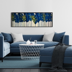 Framed 16 x 48 - Abstract blue flowers