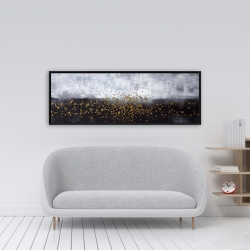 Framed 16 x 48 - Gold paint splash on gray background