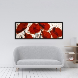 Framed 16 x 48 - Abstract paint splash red flowers