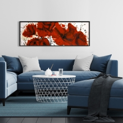 Framed 16 x 48 - Abstract red flowers field