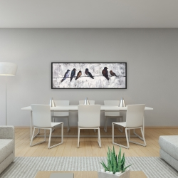 Framed 16 x 48 - Colorful birds on branches