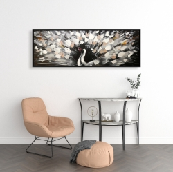 Framed 16 x 48 - Spotted abstract peacock