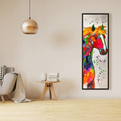 Framed 16 x 48 - Abstract colorful horse with paint splash