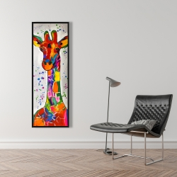 Framed 16 x 48 - Abstract colorful giraffe with paint splash