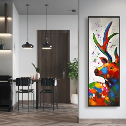 Framed 16 x 48 - Abstract colorful deer with paint splash