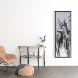 Framed 16 x 48 - Deer in the forest by a rainy day