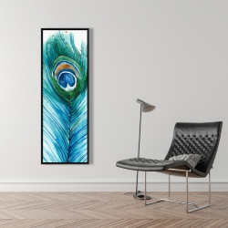 Framed 16 x 48 - Long peacock feather