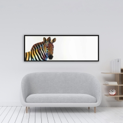 Framed 16 x 48 - Colorful profile view of a zebra