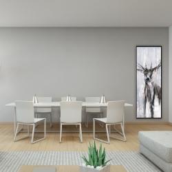 Framed 16 x 48 - Winter abstract deer