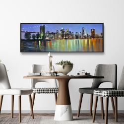 Framed 16 x 48 - Colorful city with a bridge by night