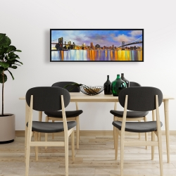 Framed 16 x 48 - Colorful city with a bridge by day