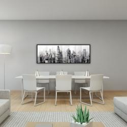 Framed 16 x 48 - Gray city with splash