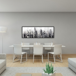Framed 16 x 48 - Gray city